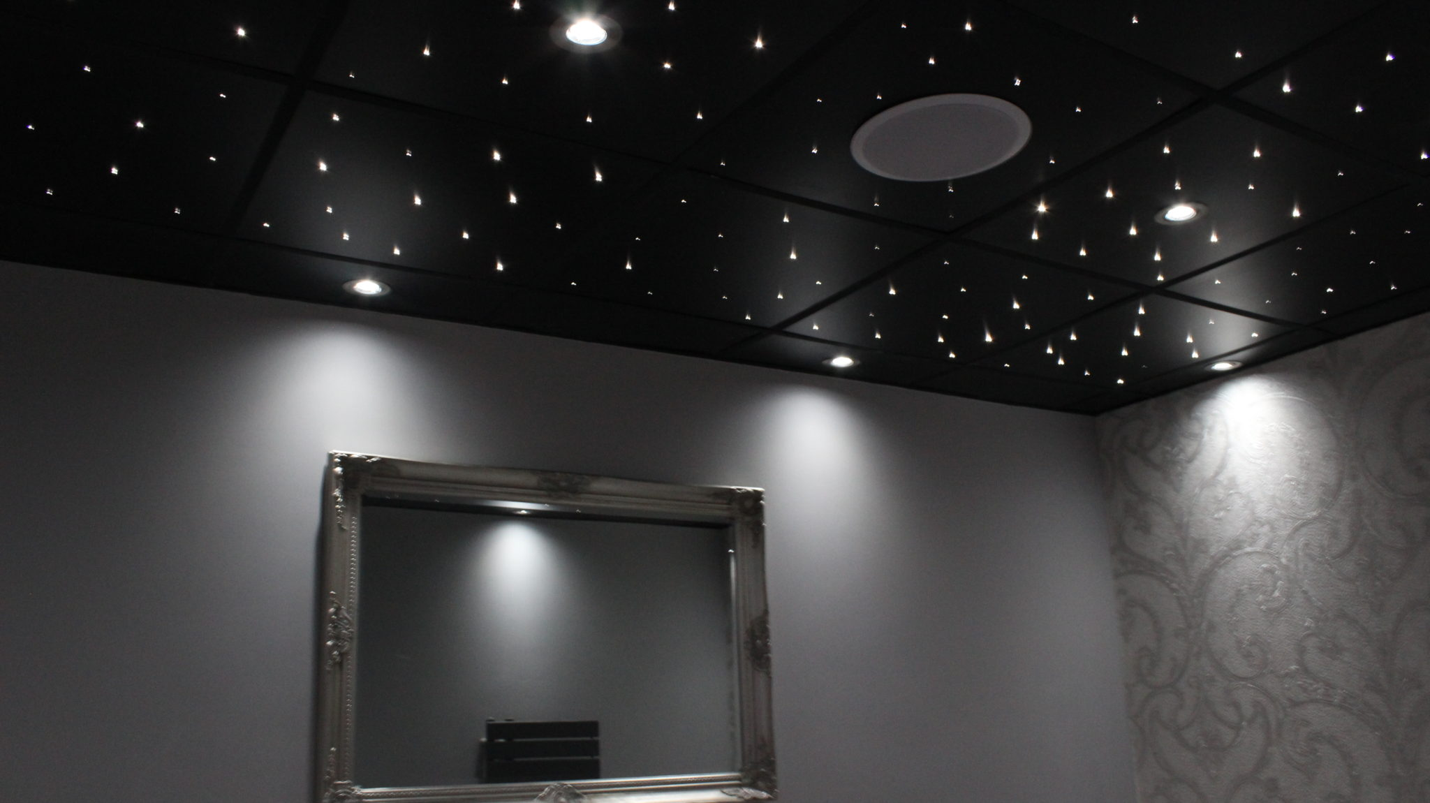 Black suspended ceiling tiles